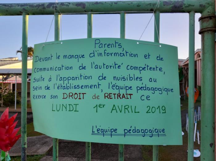 Le personnel de l'école de Grand Bourg à Rivière-Salée exerce son droit de retrait