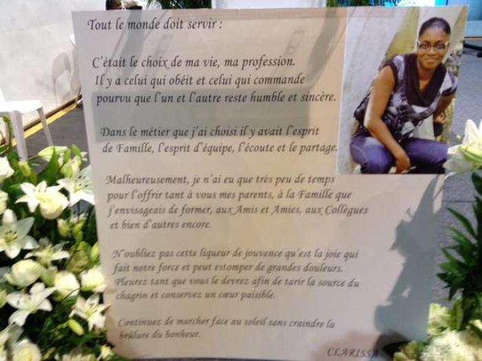 Les obsèques de Clarissa Jean-Philippe : Une veillée funèbre dimanche soir avant les funérailles lundi après-midi