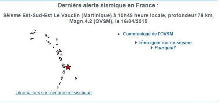 Léger séisme ressenti en Martinique jeudi en fin de matinée