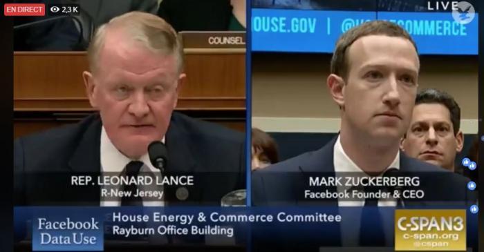 Mark Zuckerberg, patron de Facebook, à nouveau auditionné par le congrès américain