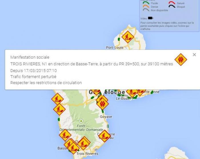 Opération escargot, circulation difficile du côté de Goyave, Capesterre-Belle-Eau et Trois-Rivières