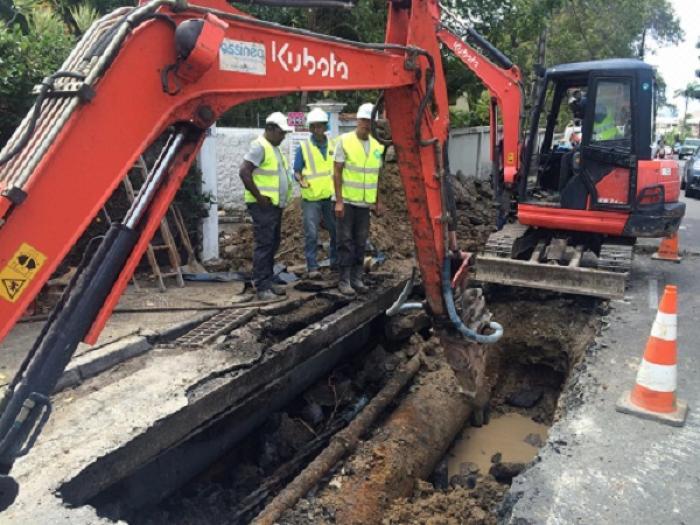 Rupture d'une canalisation d'eau potable quartier Didier à Fort de France