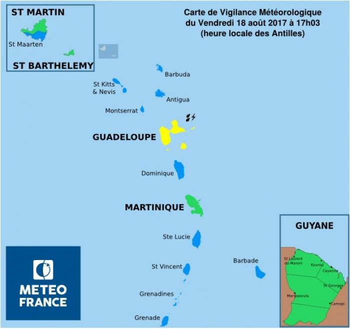 Tempête Harvey : la Martinique de nouveau au vert
