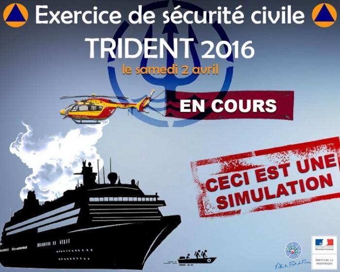 Trident 2016 : simulation d'une avarie sur un navire de croisière au large de la baie de Fort-de-France