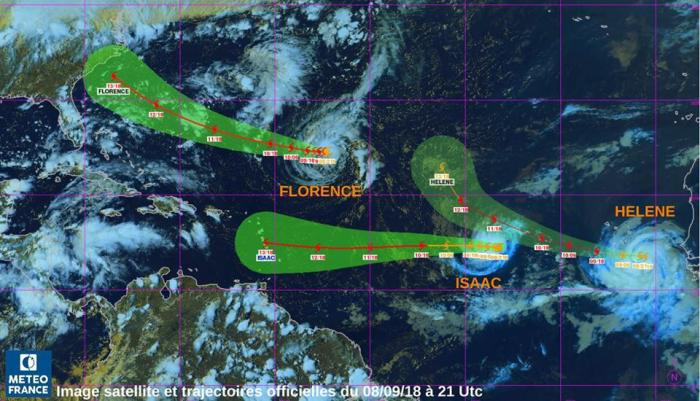 Trois tempêtes tropicales au dessus de l'Atlantique