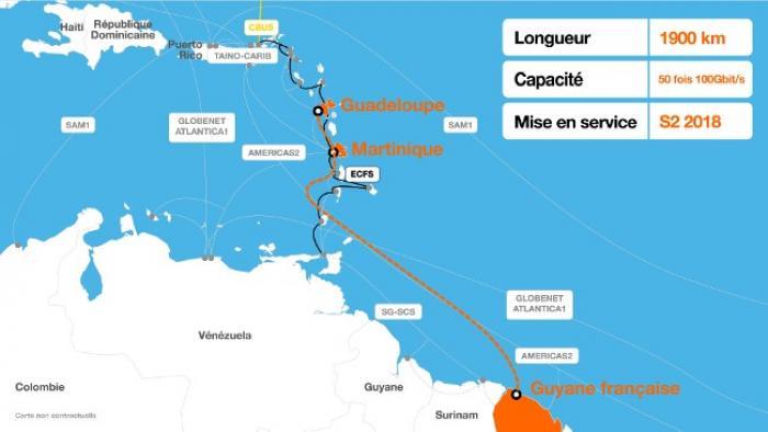 Un câble sous-marin en fibre optique entre les Antilles et la Guyane pour sécuriser nos accès à Internet