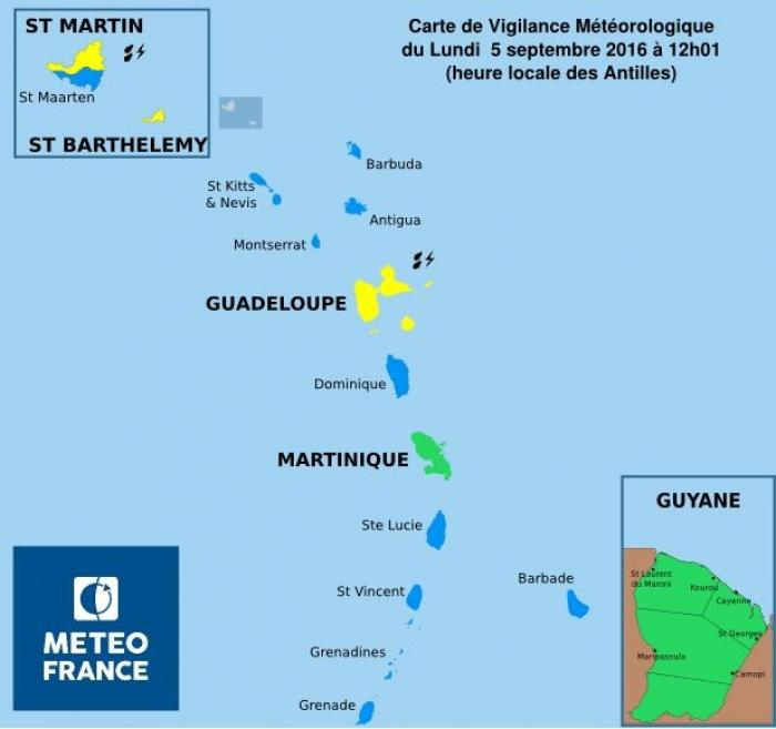 Un retour en vigilance Jaune pour la Guadeloupe