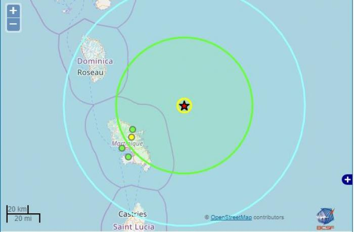 Un séisme de magnitude 5 au Nord Est de la Martinique