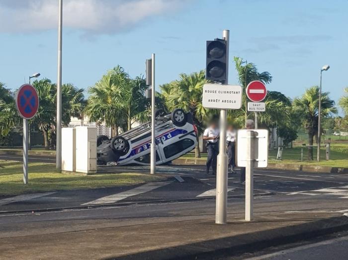 Un spectaculaire accident de la circulation au Lamentin fait trois blessés légers